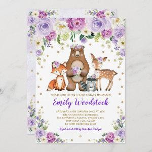 Lavender Gold Floral Woodland Animals Baby Shower Invitation