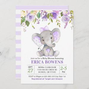 Lavender Lilac Purple Girl Elephant Baby Shower Invitation