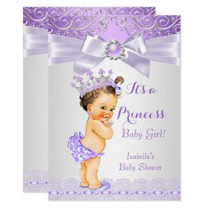 Lavender White Lilac Princess Baby Shower Brunette Invitation