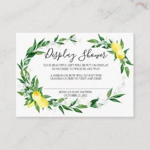 Lemon Blossom Greenery Simple Display Shower Card