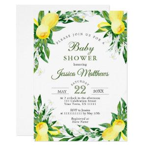 Lemons Blossom Greenery NEUTRAL Baby Shower Invitation