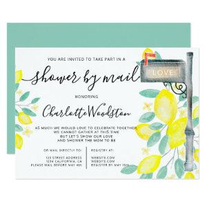 Lemons watercolor cancelled shower by mail box invitation