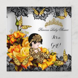 Leopard Baby Shower Girl Butterfly Yellow Gray Invitation