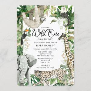 Leopard Little Wild One Safari Baby Shower Invitation