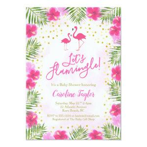 Let's Flamingle Tropical Pink Floral Baby Shower Invitation