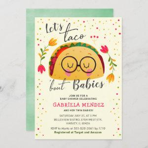 Let's Taco Bout Babies Twin Baby Shower Sprinkle Invitation