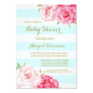 Light Blue Stripes Watercolor Flowers Baby Shower Invitation