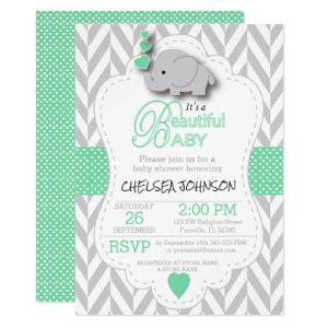 Light Green, White Gray Elephant Baby Shower Invitation