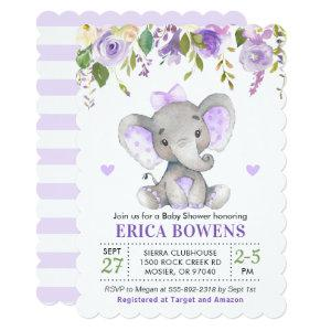 Light Purple Watercolor Girl Elephant Baby Shower Invitation