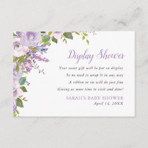 Lilac Floral Display Shower No Gift Wrap Request Enclosure Card