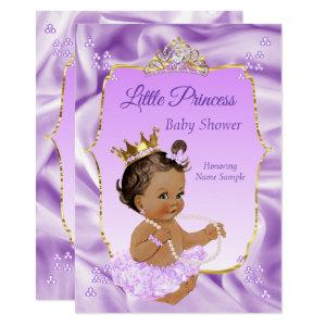 Lilac Gold Princess Baby Shower Girl dark brunette Invitation