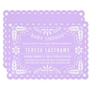 Lilac purple and white papel picado baby shower invitation