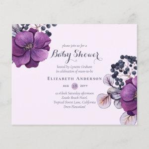 Lilac Purple Floral Baby Shower Invites BUDGET