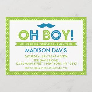 Lime Green and Blue Polka Dot Oh Boy Baby Shower Invitation