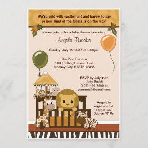 LION Baby Shower Invitation Fall Jungle Safari
