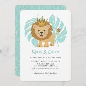 Lion Cub Jungle Leaves Boy Baby Shower Invitation