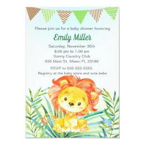 Lion Cub Watercolor Baby Shower Invitation