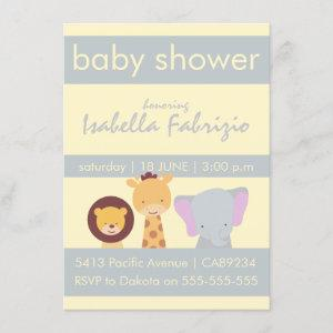 Lion Giraffe Elephant Yellow & Grey Baby Shower Invitation