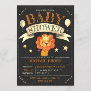Lion King Stars Gold Ribbon Invitation