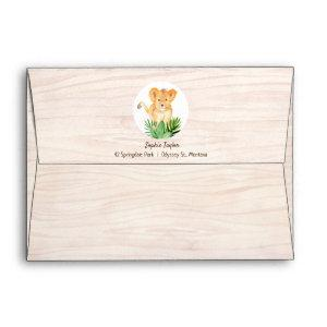 Lion Tropical Rain Forest Wood Texture Birthday Envelope