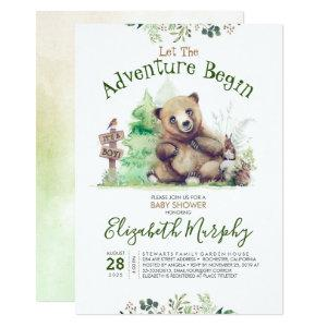 Little Bear Cute Woodland Themed Baby Shower Invitation