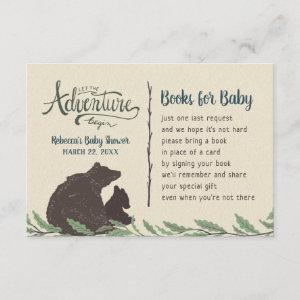 Little Bear Rustic Baby Shower Book Request Card