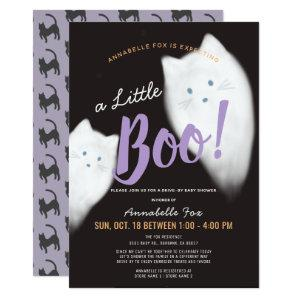 Little Boo Ghost Cat Drive-by Baby Shower Invitation