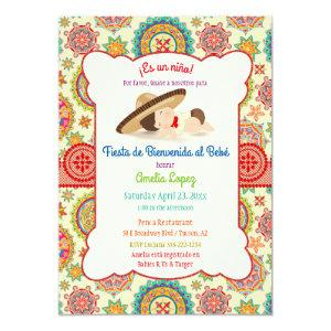 Little Boy Spanish Mexican Sombrero Baby Shower Invitation