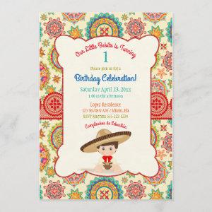Little Boy Spanish Mexican Sombrero Colorful Invitation