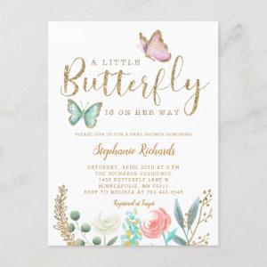 Little Butterfly Is On Her Way Gold Baby Shower  Postcard