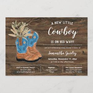 Little Cowboy Bootie Brown Wood Baby Shower Invitation