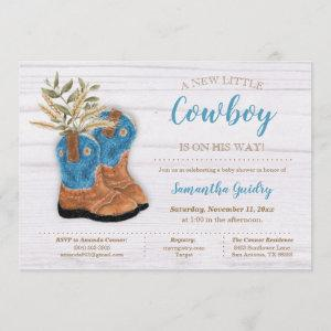 Little Cowboy Bootie White Wood Baby Shower Invitation