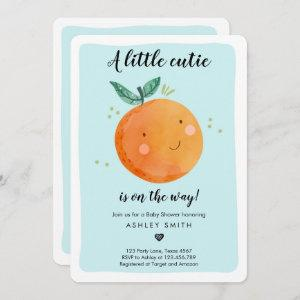 Little Cutie Baby Shower Boy Clementine Orange Invitation