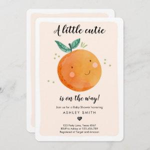 Little Cutie Baby Shower Clementine Gender Neutral Invitation