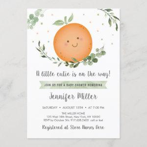 Little Cutie Greenery Baby Shower Invitation