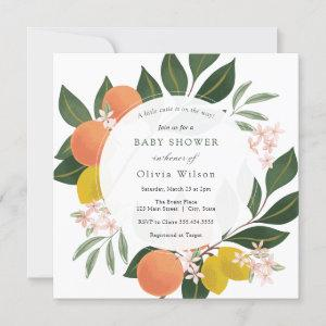 Little Cutie on the Way Orange Baby Shower Invitation