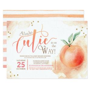 Little Cutie On The Way Peach Baby Shower Invitation