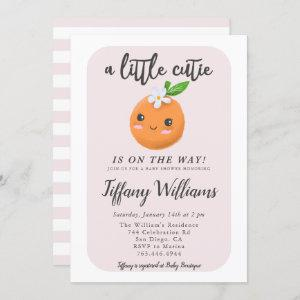 Little Cutie Pink Baby Shower Oranges Invitation