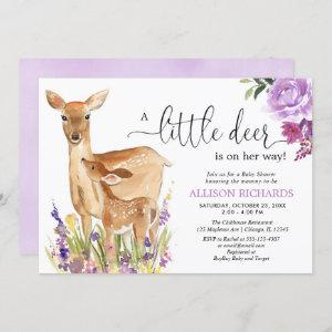 Little deer is on her way, cute fawn girl shower invitation