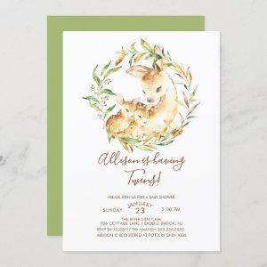 Little Deer Twins Baby Shower Invitations
