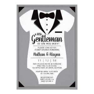 Little Gentleman Baby Shower Invitation, Tuxedo Invitation