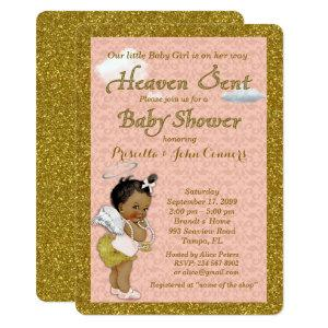 Little Girl Baby Shower Invitation,pink, gold Invitation