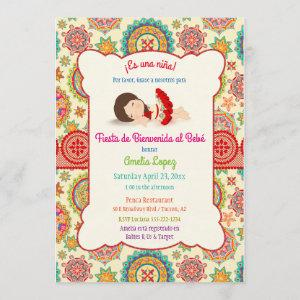 Little Girl Spanish Dress Colorful Baby Shower Invitation