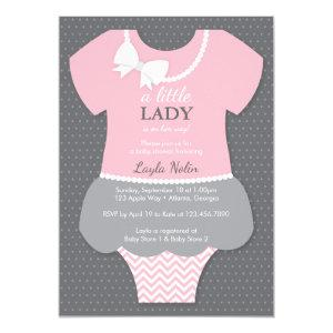 Little Lady Baby Shower Invitation, Pink, Pearls Invitation