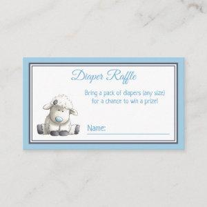 Little Lamb Blue Baby Shower Diaper Raffle Tickets Enclosure Card