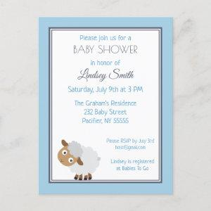 Little Lamb Blue Baby Shower Invitation Postcard