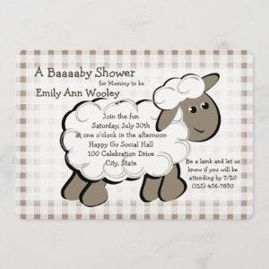 Little Lamb Gingham Baby Shower Invitation