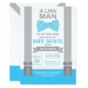 Little Man Baby Shower Invitation Blue and Gray