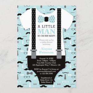 Little Man Baby Shower Invitation, Blue, Black Invitation