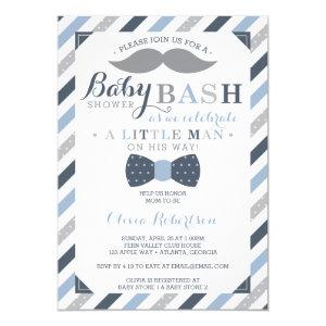 Little Man Baby Shower Invitation, Blue, Gray Invitation